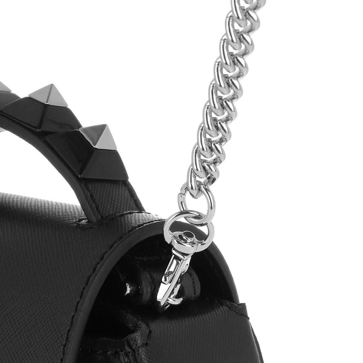 Salar Suede Carol Pike Handle Tote Bag Black