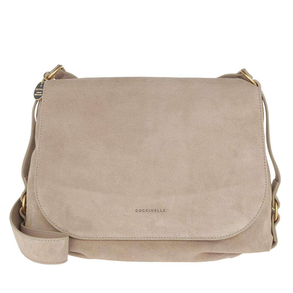 546b87f5aa Coccinelle Alpha Suede Saddle Bag Taupe in Natural - Lyst
