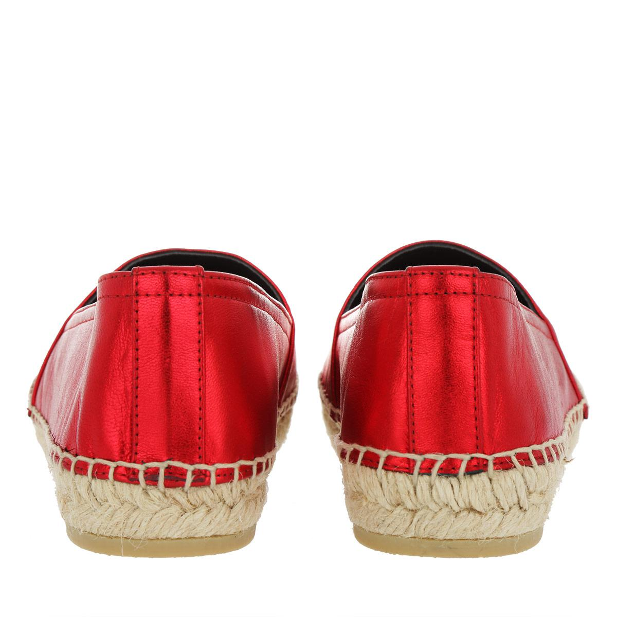 e3597fea5 Saint Laurent Ysl Monogramme Espadrilles Leather Rosso in Red - Lyst