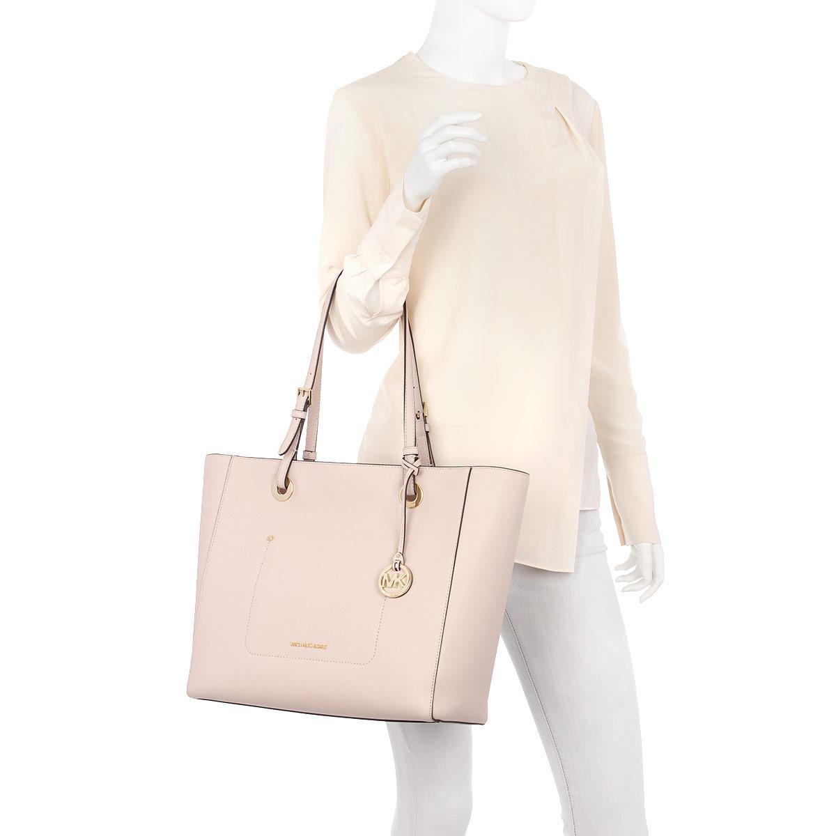 Michael Kors Leather Walsh Lg Ew Tz Tote Soft Pink