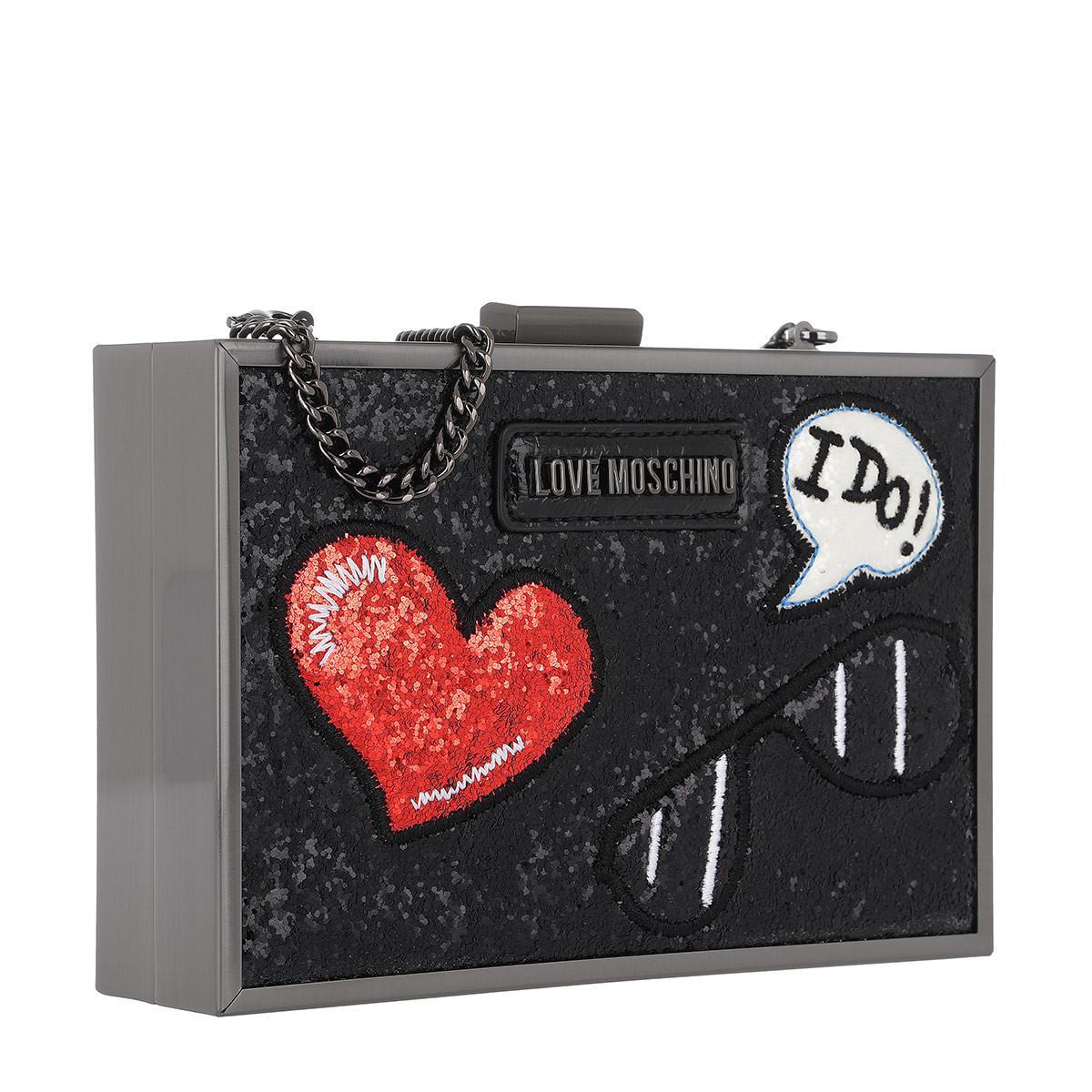 6859901fd3a Love Moschino Glitters Metallic Crossbody Bag Patches Nero in Black ...