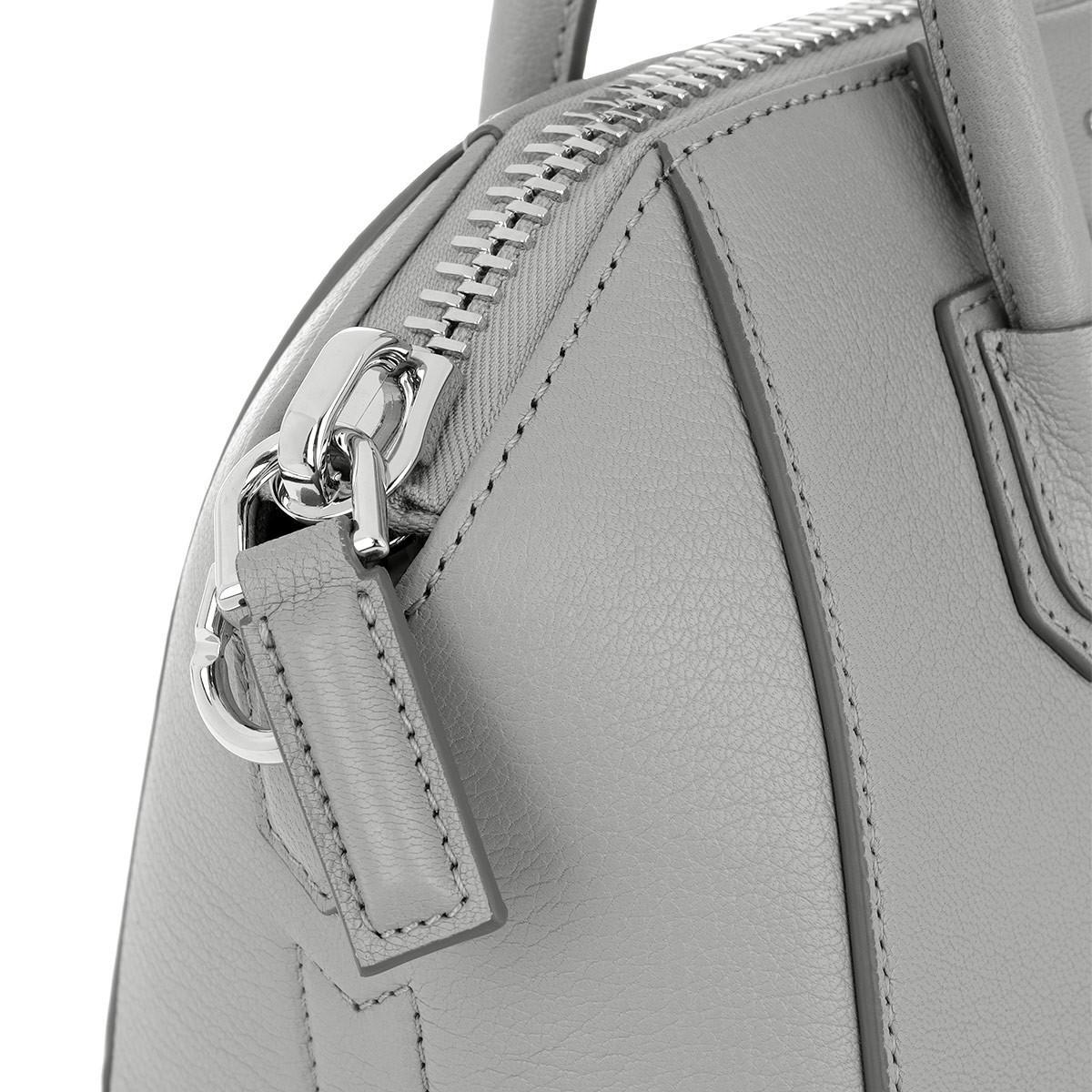 Givenchy Cotton Mini Antigona Tote Pearl Grey in Grey