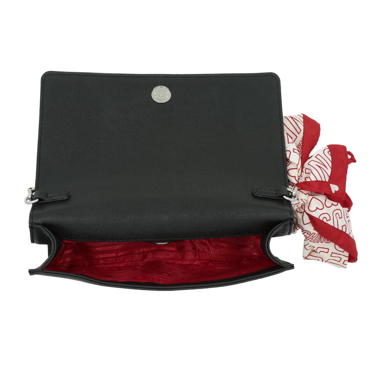 Love Moschino Leather Logo Crossbody Bag Scarf Nero in Black