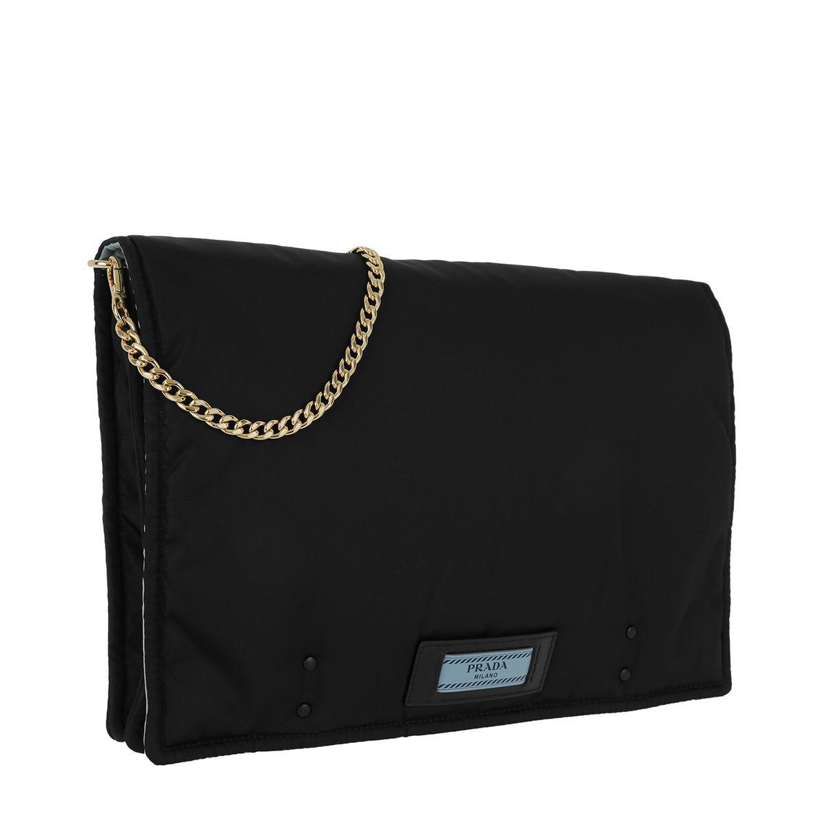 Pochette - Etiquette Pouch Nero/Astrale - blue, black - Pochette for ladies Prada