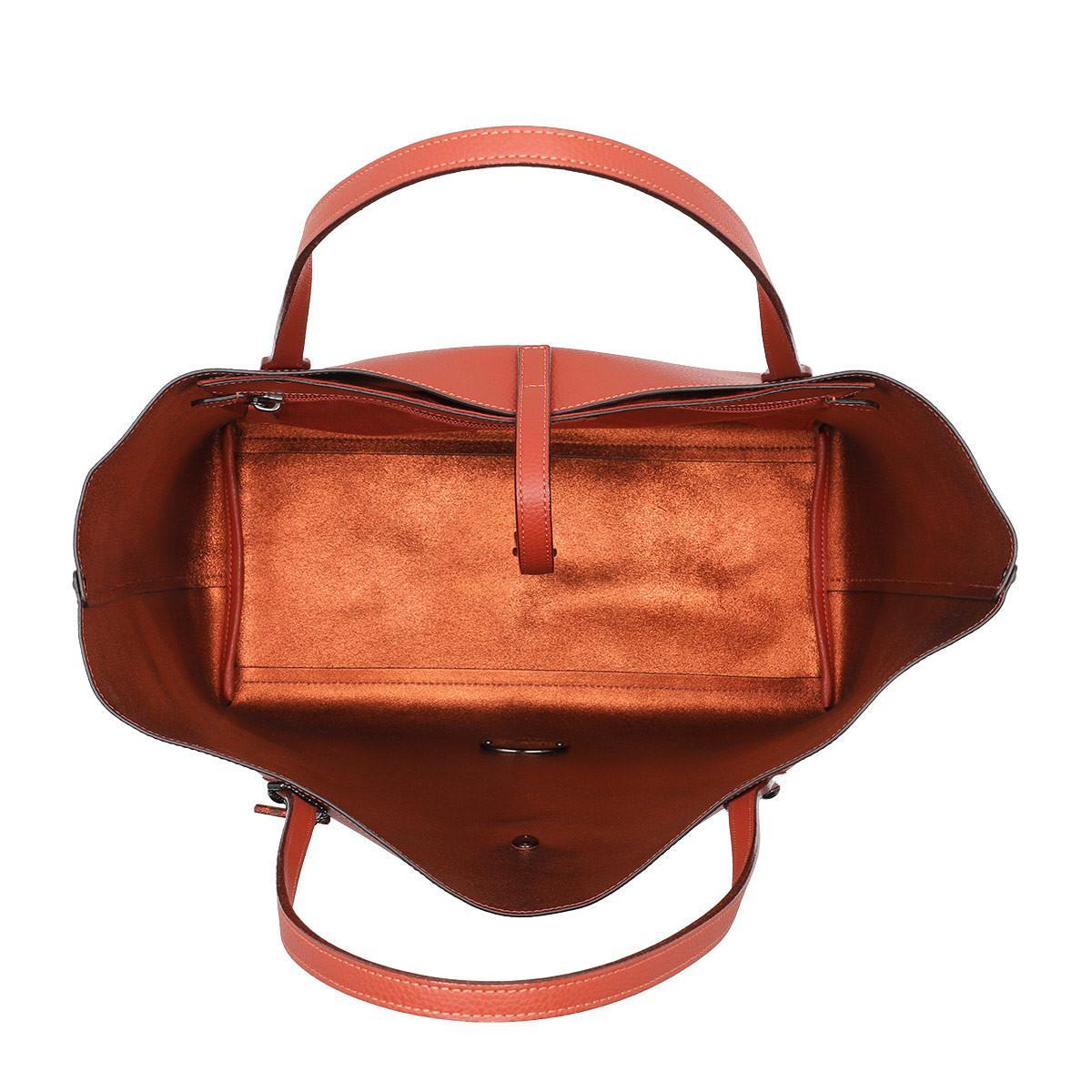 COACH Leather Metallic Lining Market Tote Vermillion/metallic Brick in Orange