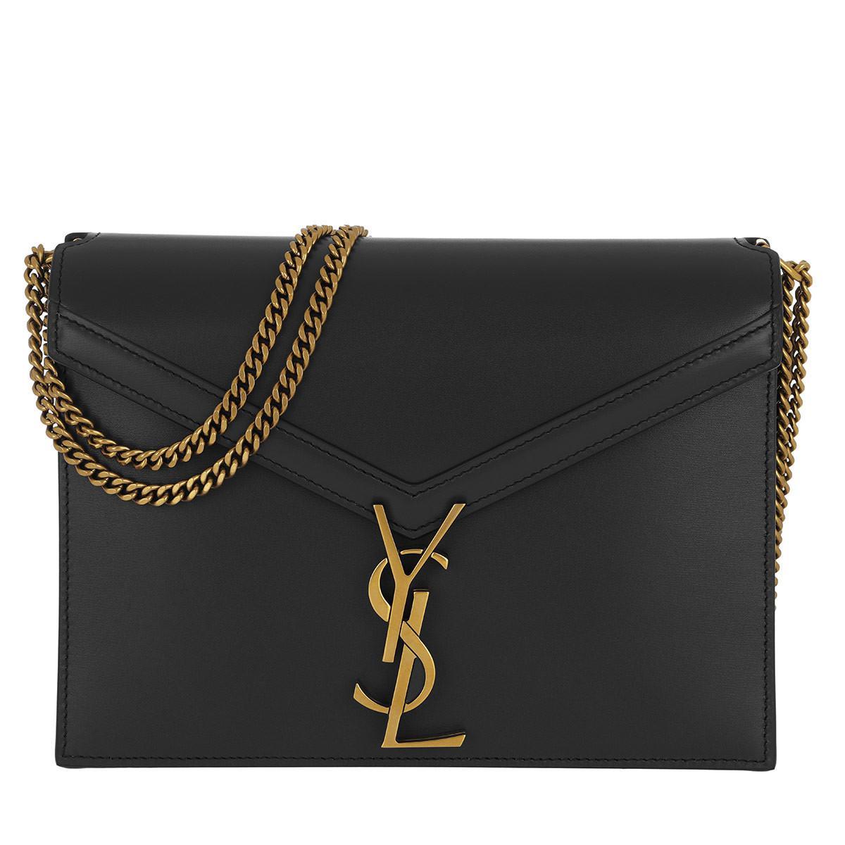 Saint Laurent Cassandra Monogramme Chain Bag Leather Black in Black ... cdb223885dfc6