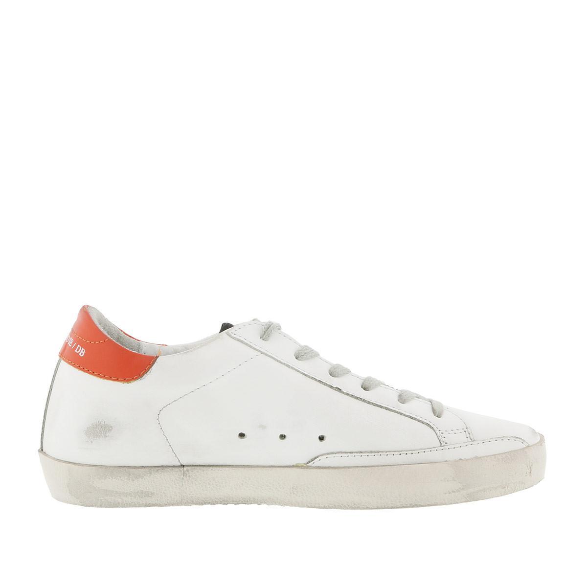 Golden Goose Deluxe Brand Leather Superstar Sneakers Orange Ice in White