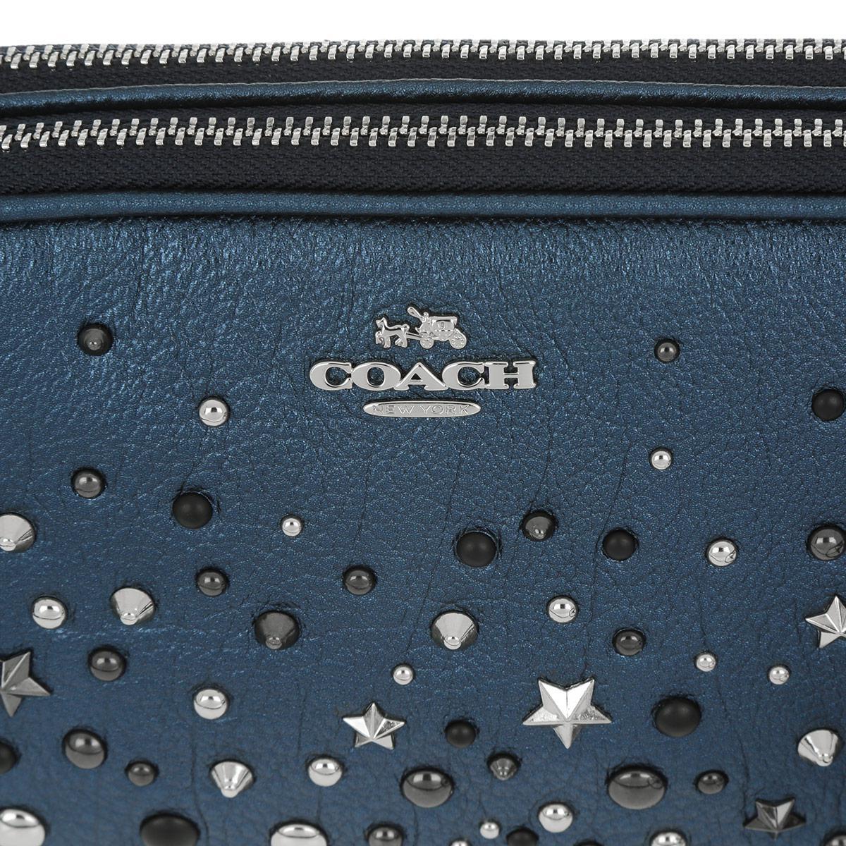 COACH Leather Metallic Crossbody Bag Metallic Blue