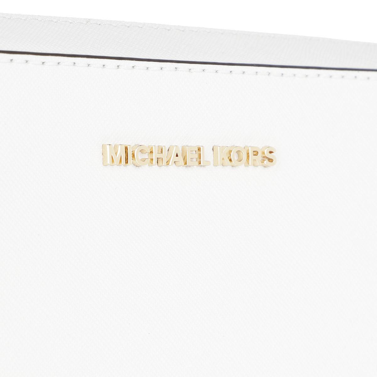 Michael Kors Leather Lg Ew Crossbody Bag Optic White