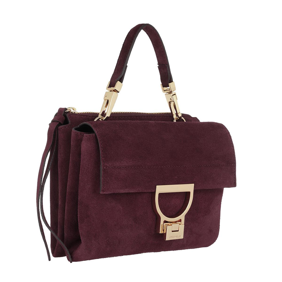 Coccinelle Arlettis Suede Crossbody Bag Grape in Red