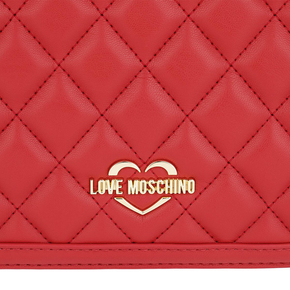 Love Moschino Synthetic Quilted Nappa Chain Crossbody Bag Rossa in Red