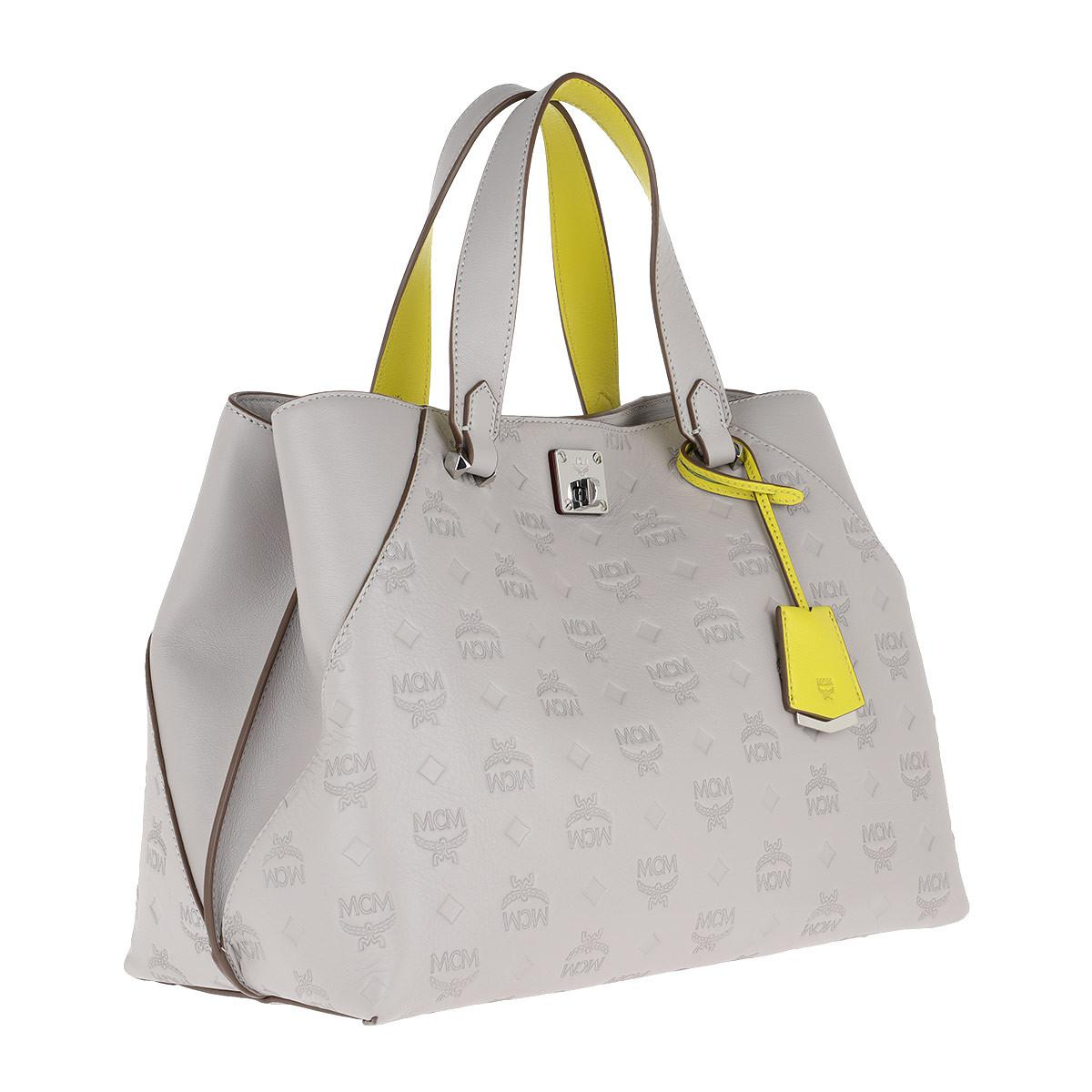 9038f7c0f MCM - Gray Essential Monogrammed Leather Tote Large Dove - Lyst. View  fullscreen