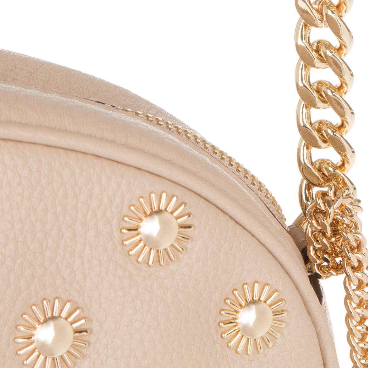 Michael Kors Leather Ginny Studded Md Messenger Crossbody Bag Oyster in Beige (Natural)