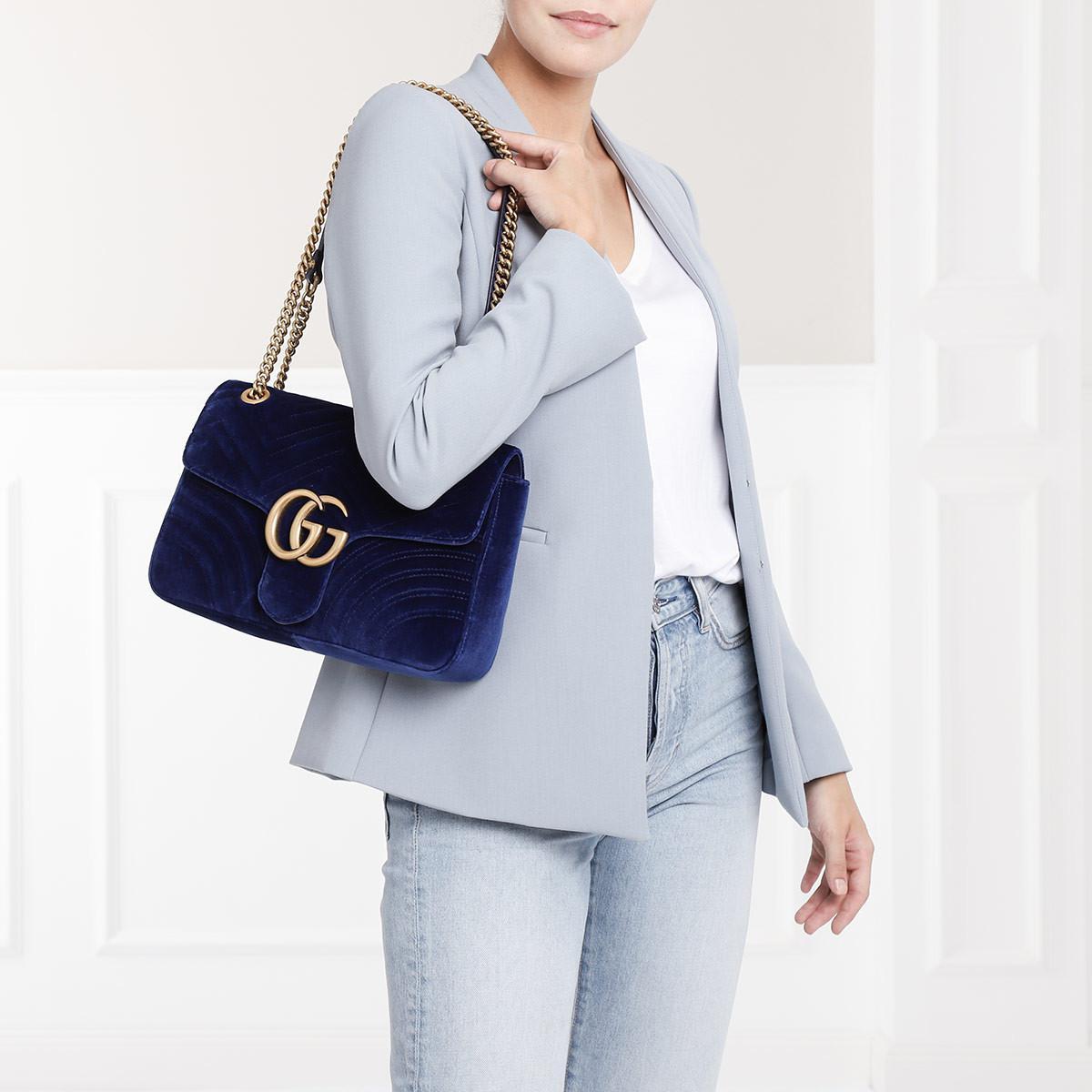 1fda15d54f Gucci Gg Marmont Medium Velvet Shoulder Bag Cobalt in Blue - Lyst