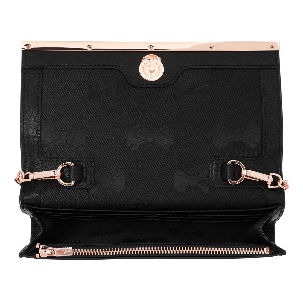 87f4d42784 Ted Baker Natalie Metal Bar Matinee With Chain Wallet Black in Black ...
