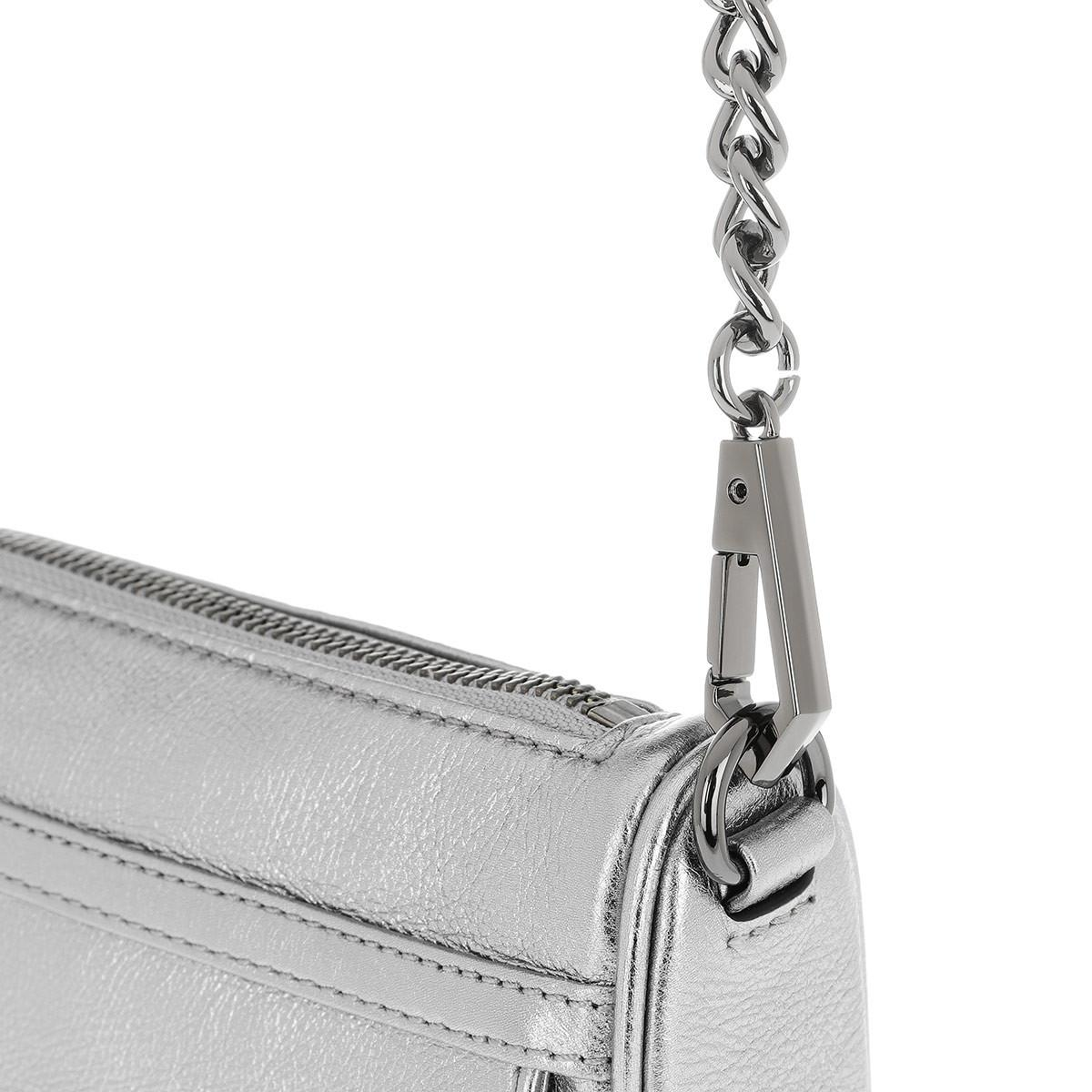 Rebecca Minkoff Leather Mini Mac Chain Crossbody Bag Anthracite in Grey