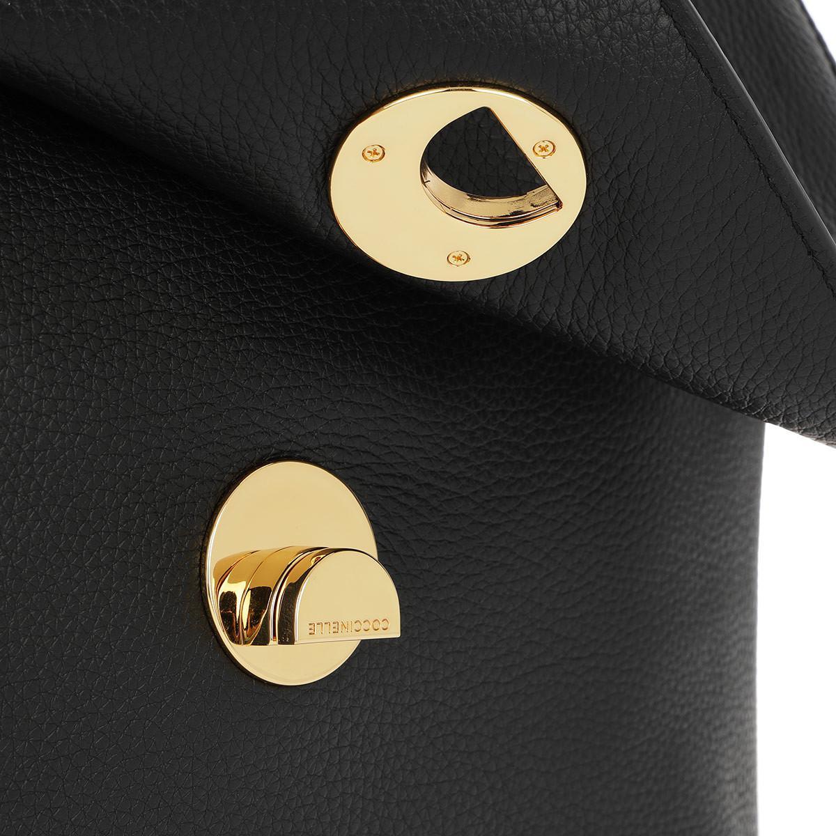 Coccinelle Leather Liya Crossbody Bag Large Noir in Black