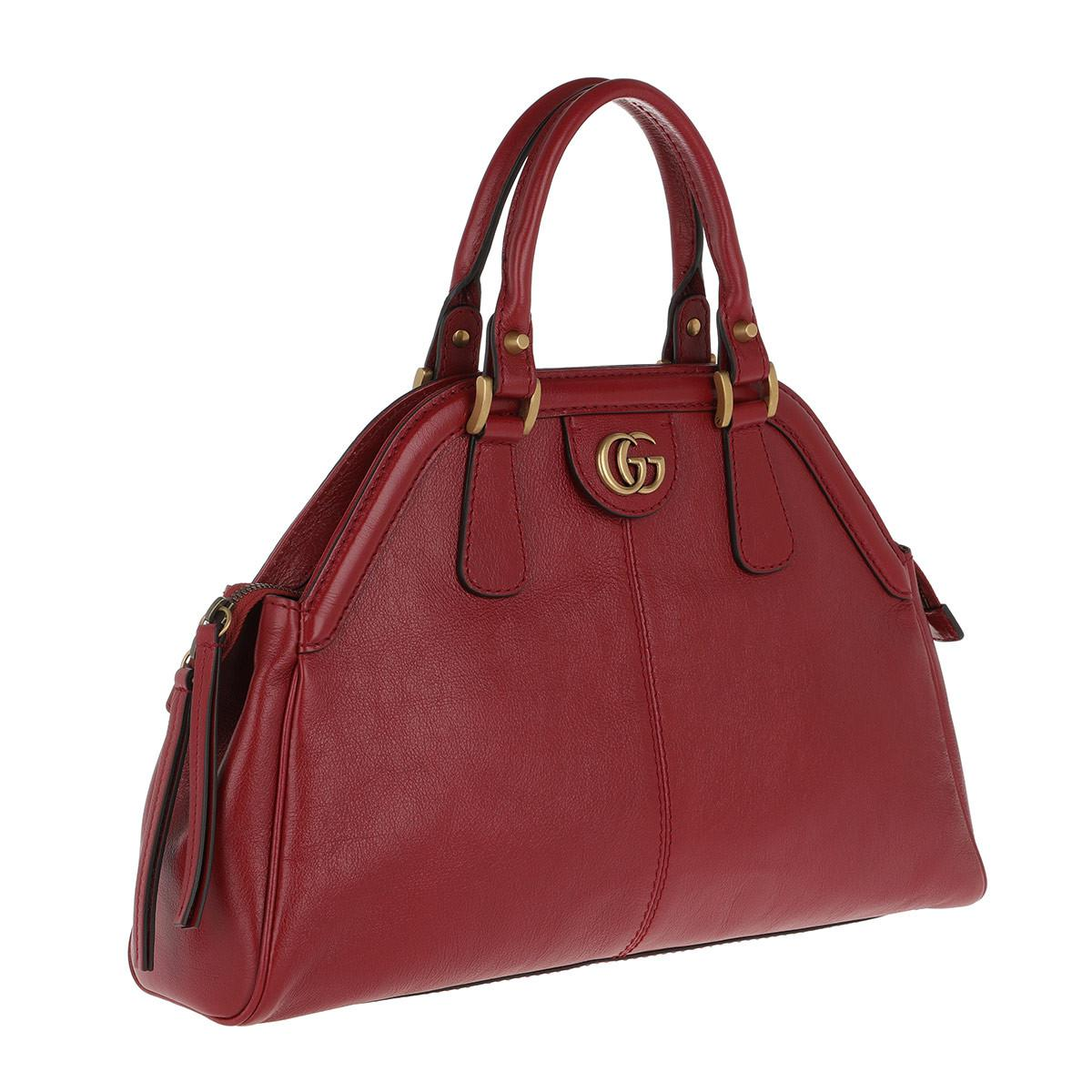 db8da2d158b7 Gucci Rebelle Medium Top Handle Bag Red in Red - Lyst