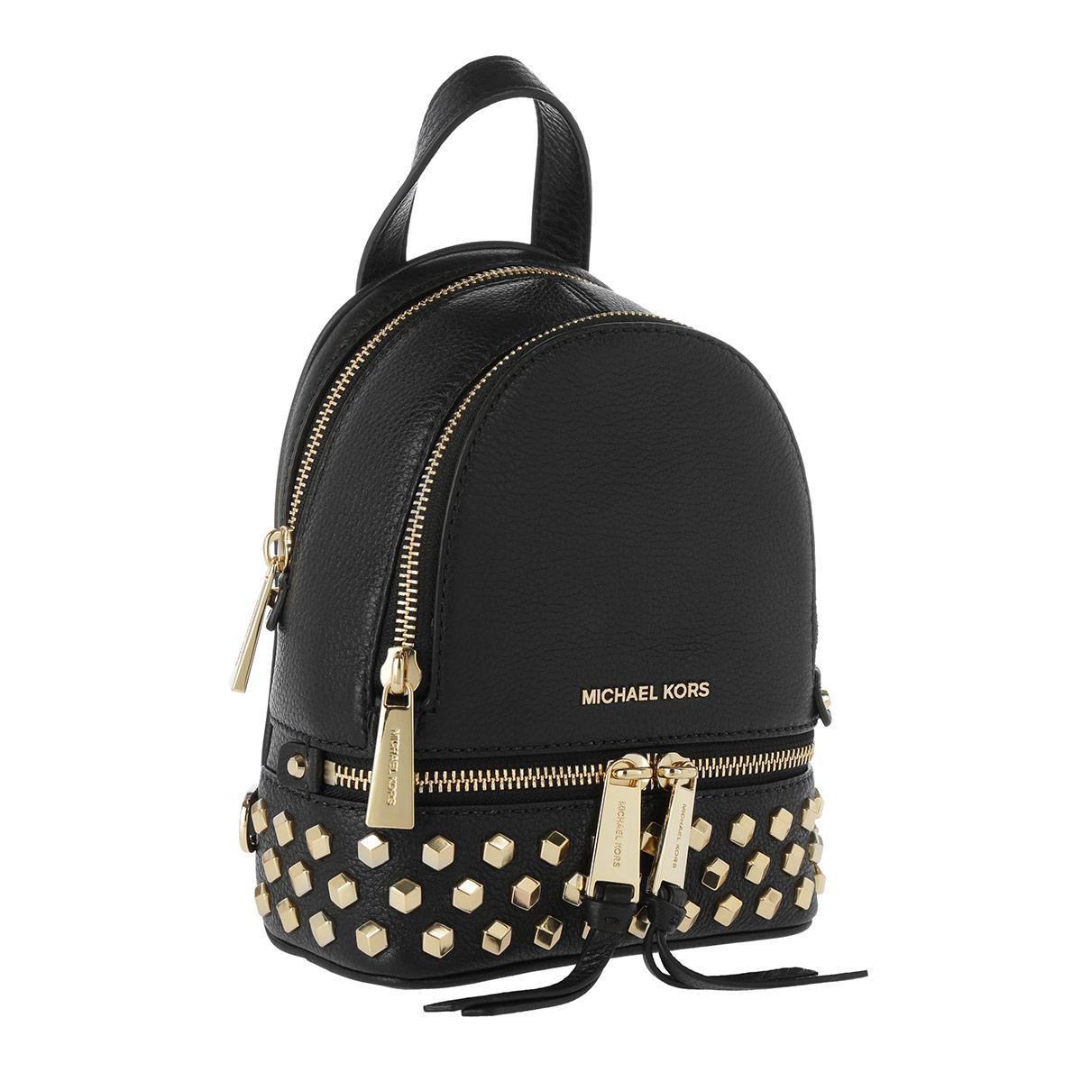 Michael Kors Denim Rhea Zip Xs Messenger Backpack Gold Black in Metallic