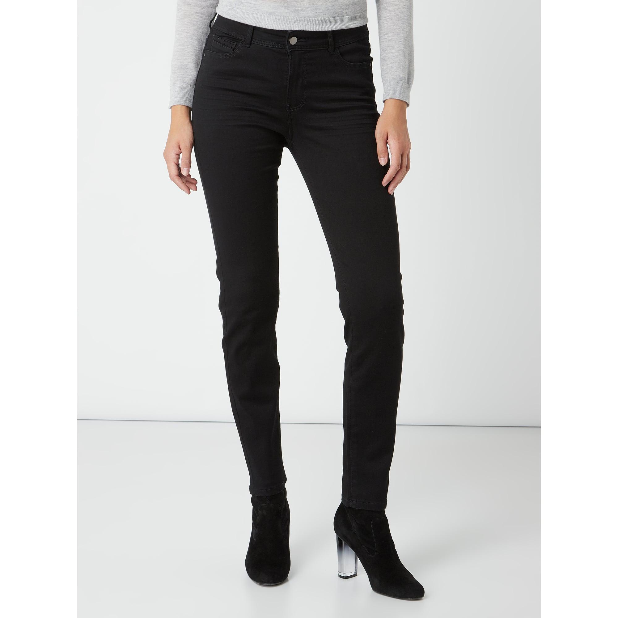 Christian Berg Women Denim Coloured Skinny Fit 5-Pocket-Jeans in Schwarz jTm7k