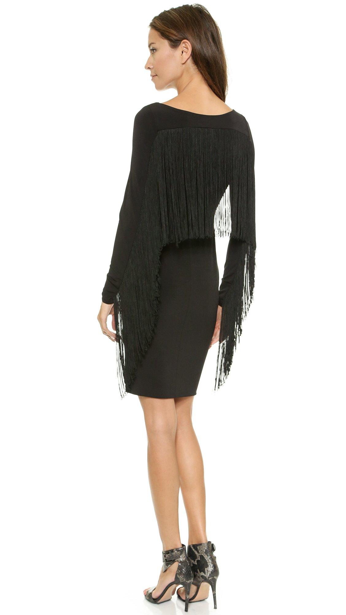 Lyst 5th Amp Mercer Long Sleeve Fringe Dress Black In Black