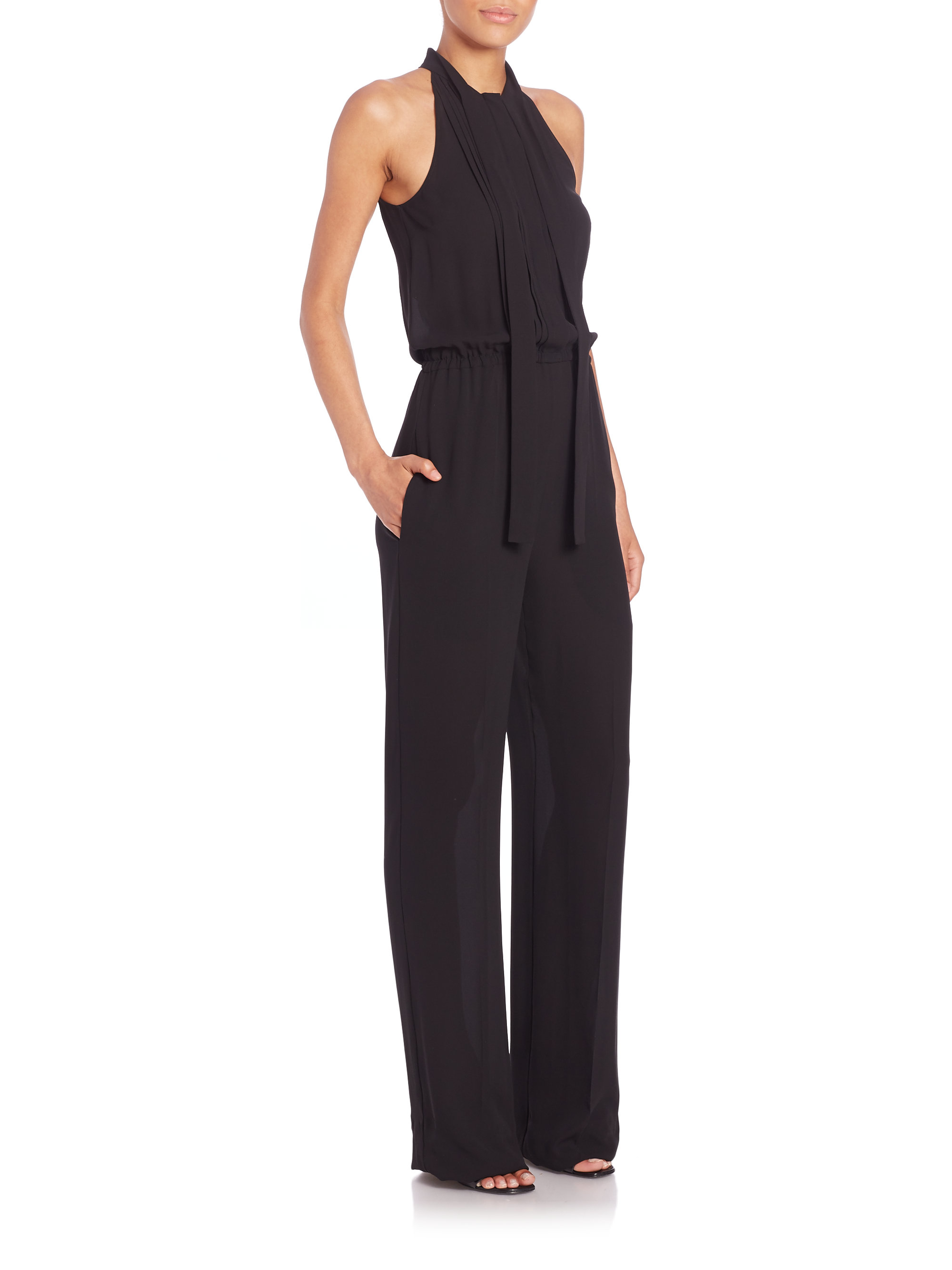 cd1d7ad93dfb Lyst - Michael Kors Silk Button-front Jumpsuit in Black