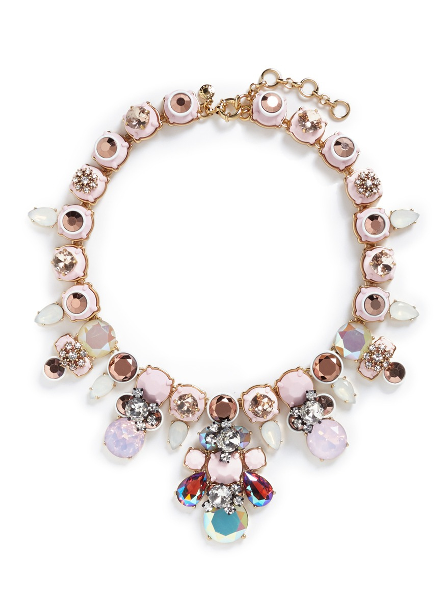 powder crystal necklace in pink lyst