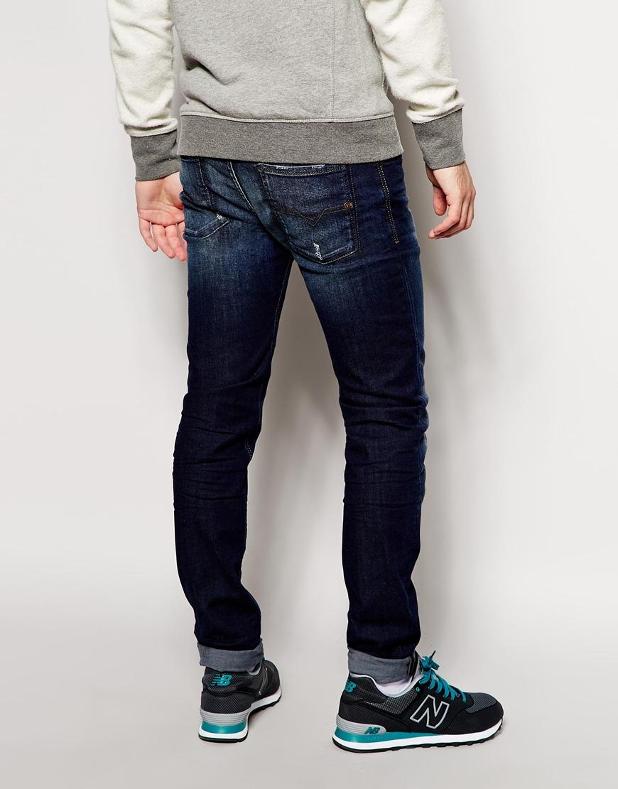 diesel jeans sleenker skinny fit 837j stretch dark wash in blue for men lyst. Black Bedroom Furniture Sets. Home Design Ideas
