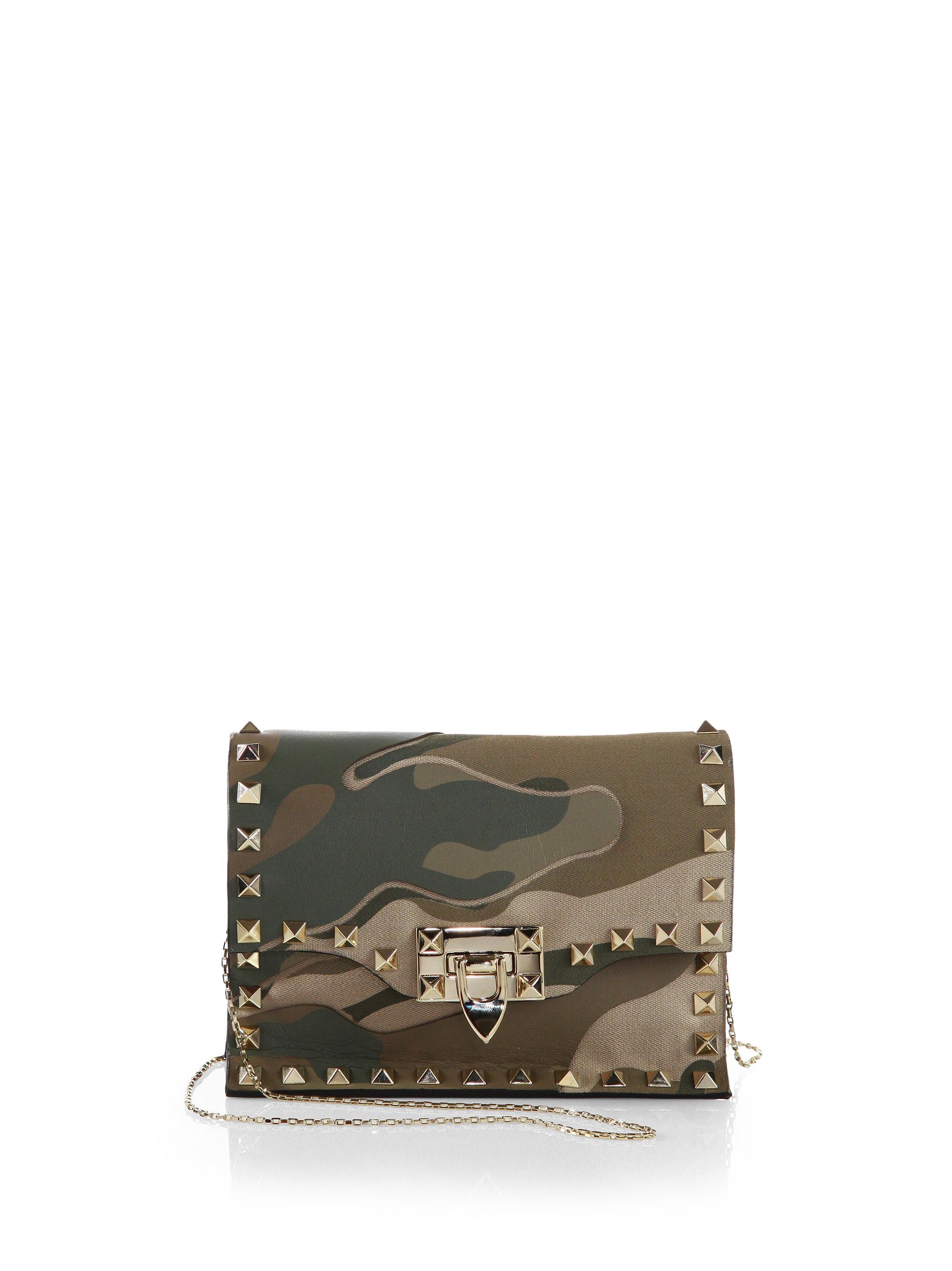 Valentino Camouflage Rockstud Small Crossbody Bag in Green (SAFARI ...