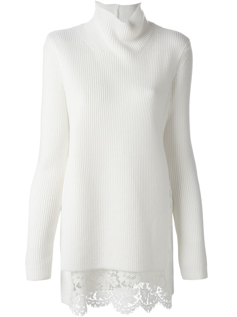 Valentino Lace Hem Sweater in White | Lyst