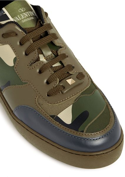 valentino camouflage print leather canvas sneakers in green lyst. Black Bedroom Furniture Sets. Home Design Ideas