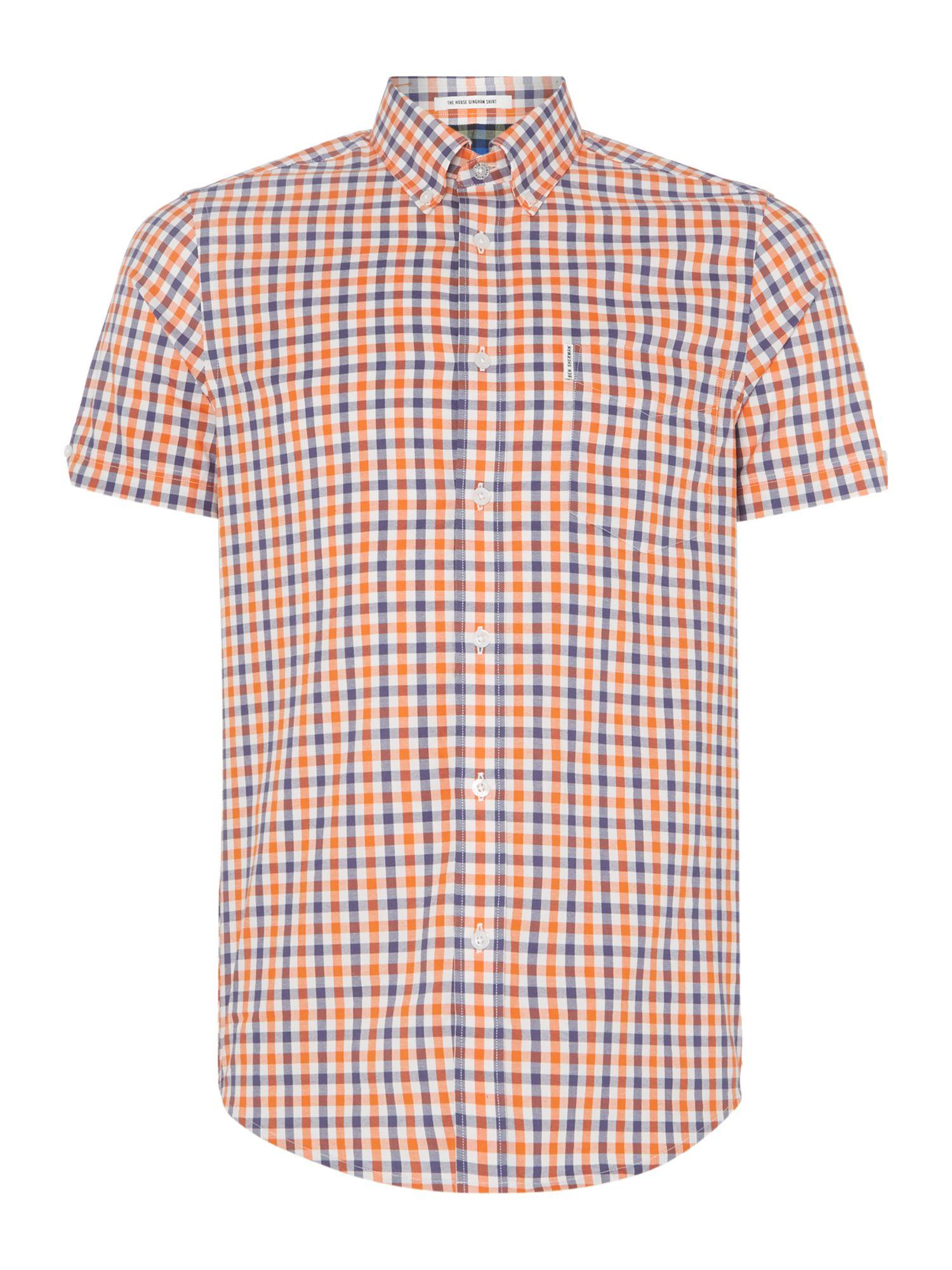 Ben Sherman New House Gingham Short Sleeve Shirt In Orange