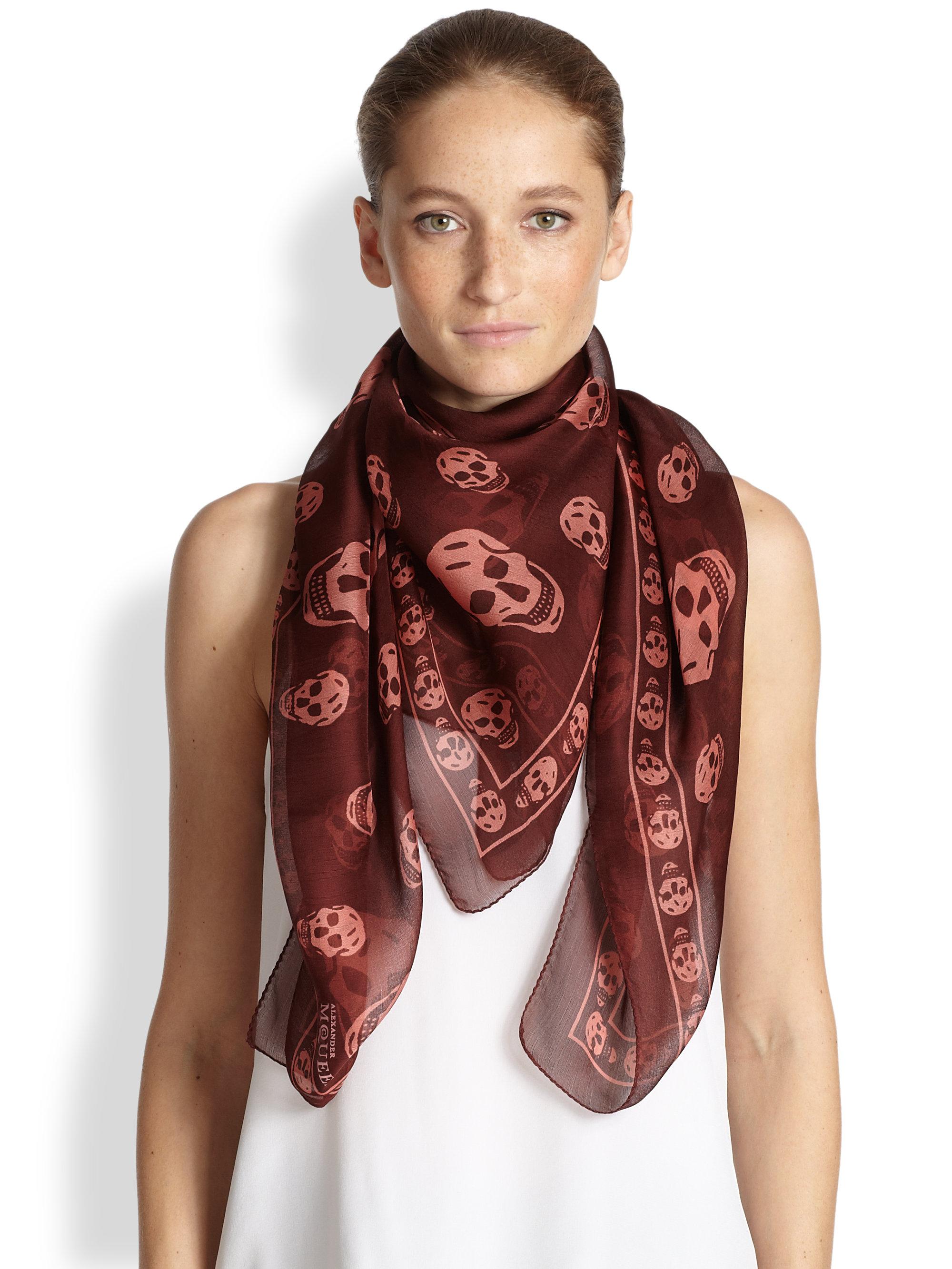 Printed Silk-chiffon Scarf - Red Alexander McQueen P8lWsU4