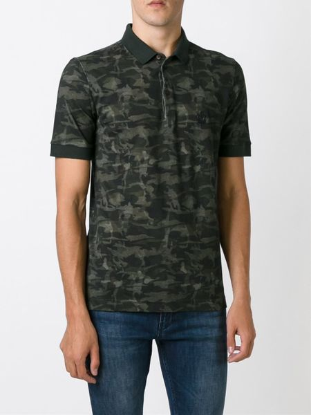 Dolce gabbana camouflage print polo shirt in green for for Camo polo shirts for men