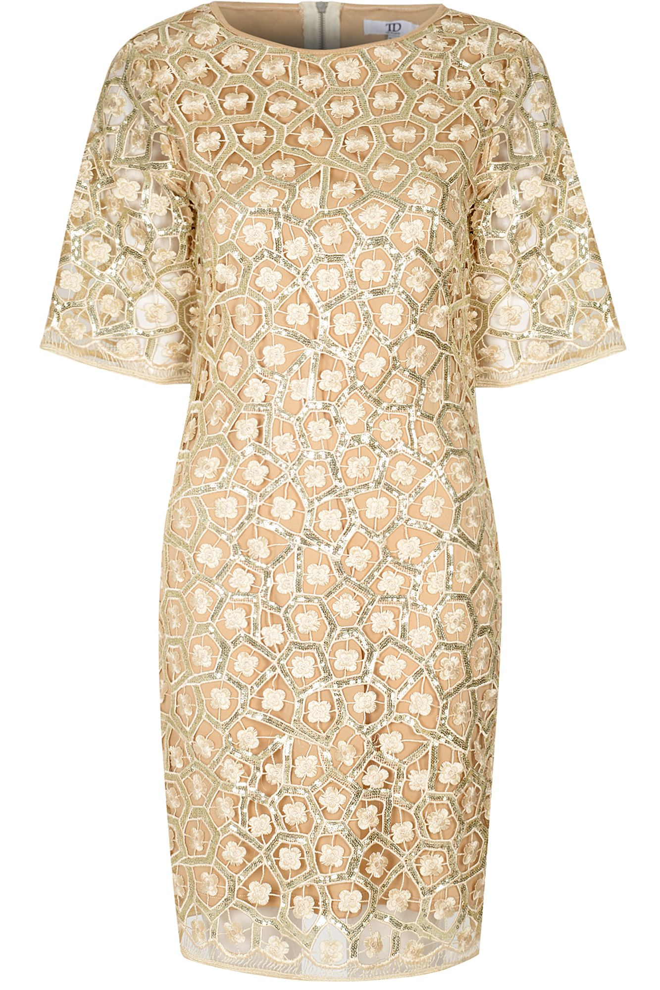 True decadence Lace Sequin Dress in Natural  Lyst