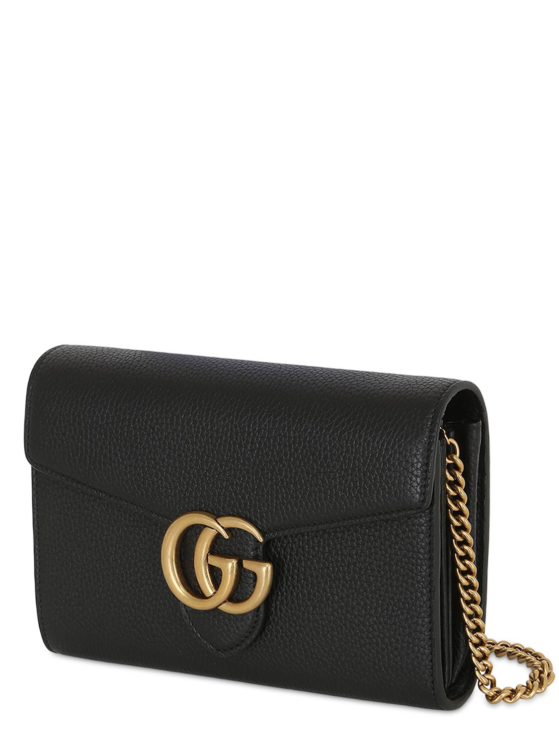 gucci gg buckle grained leather shoulder bag in black lyst