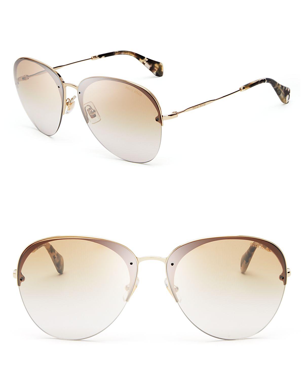 781bc950c Lyst - Miu Miu Aviator Sunglasses in Metallic