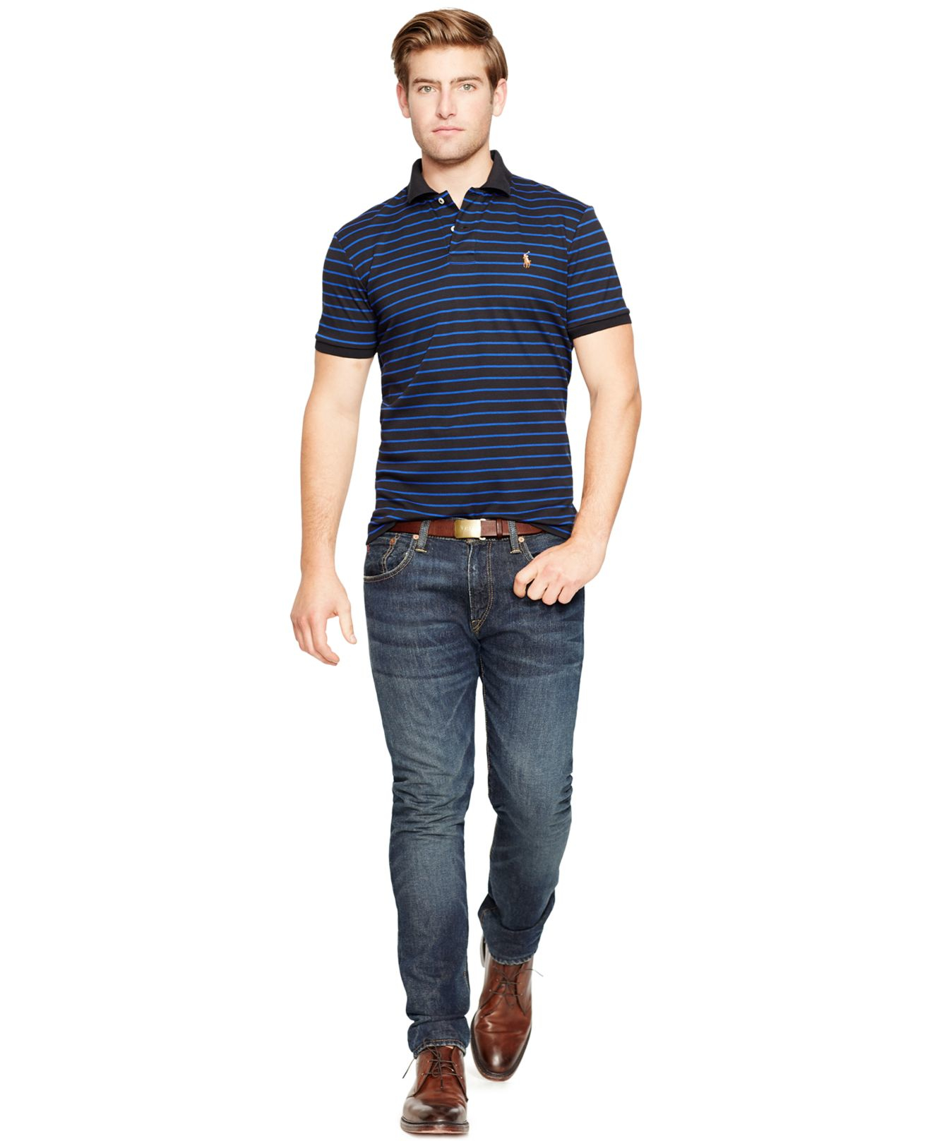 9976974c Polo Ralph Lauren Striped Pima Soft-touch Polo in Blue for Men - Lyst