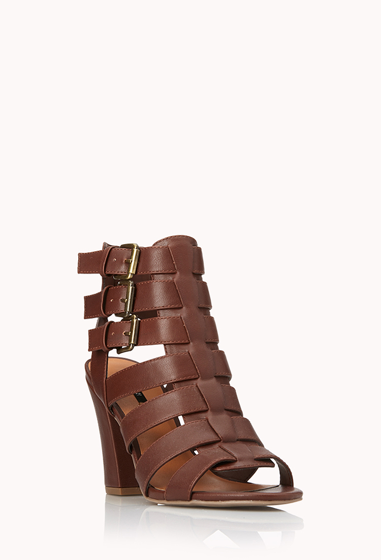 Lyst Forever 21 Buckled Sandals In Brown