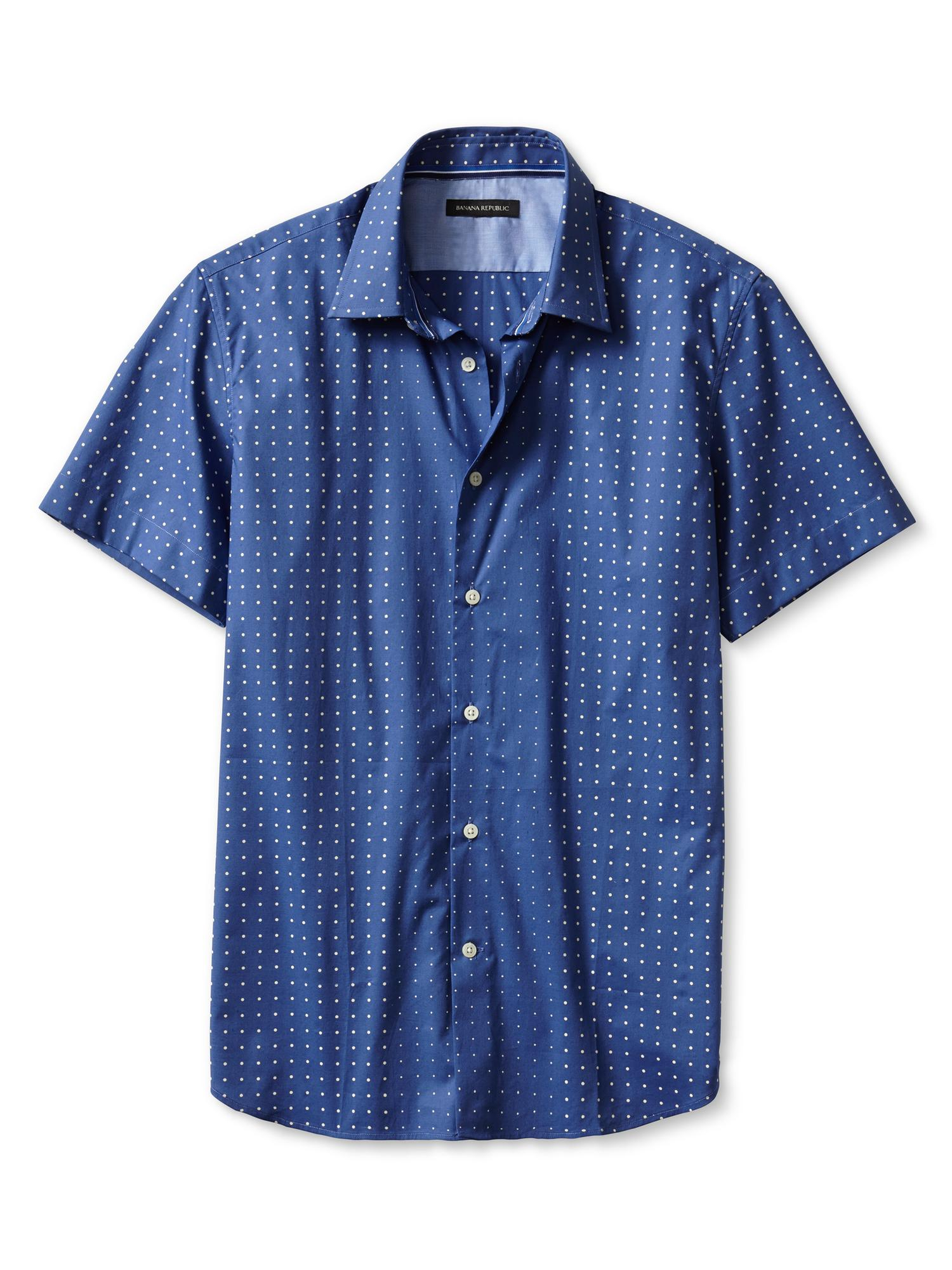 banana republic slim fit dot print short sleeve shirt