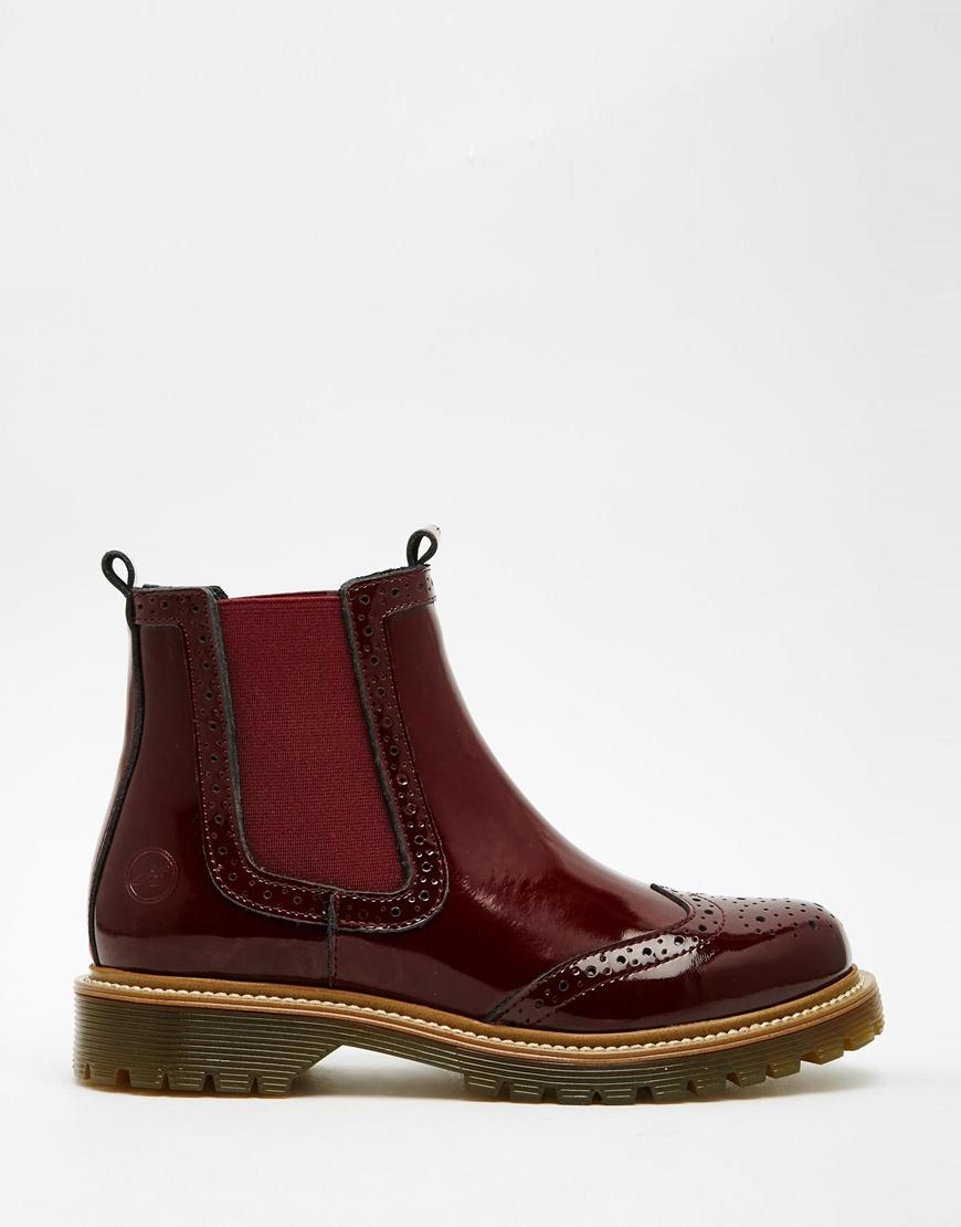 on sale 03493 3cc8e Bronx Red Bordeau Leather Patent Chelsea Boots