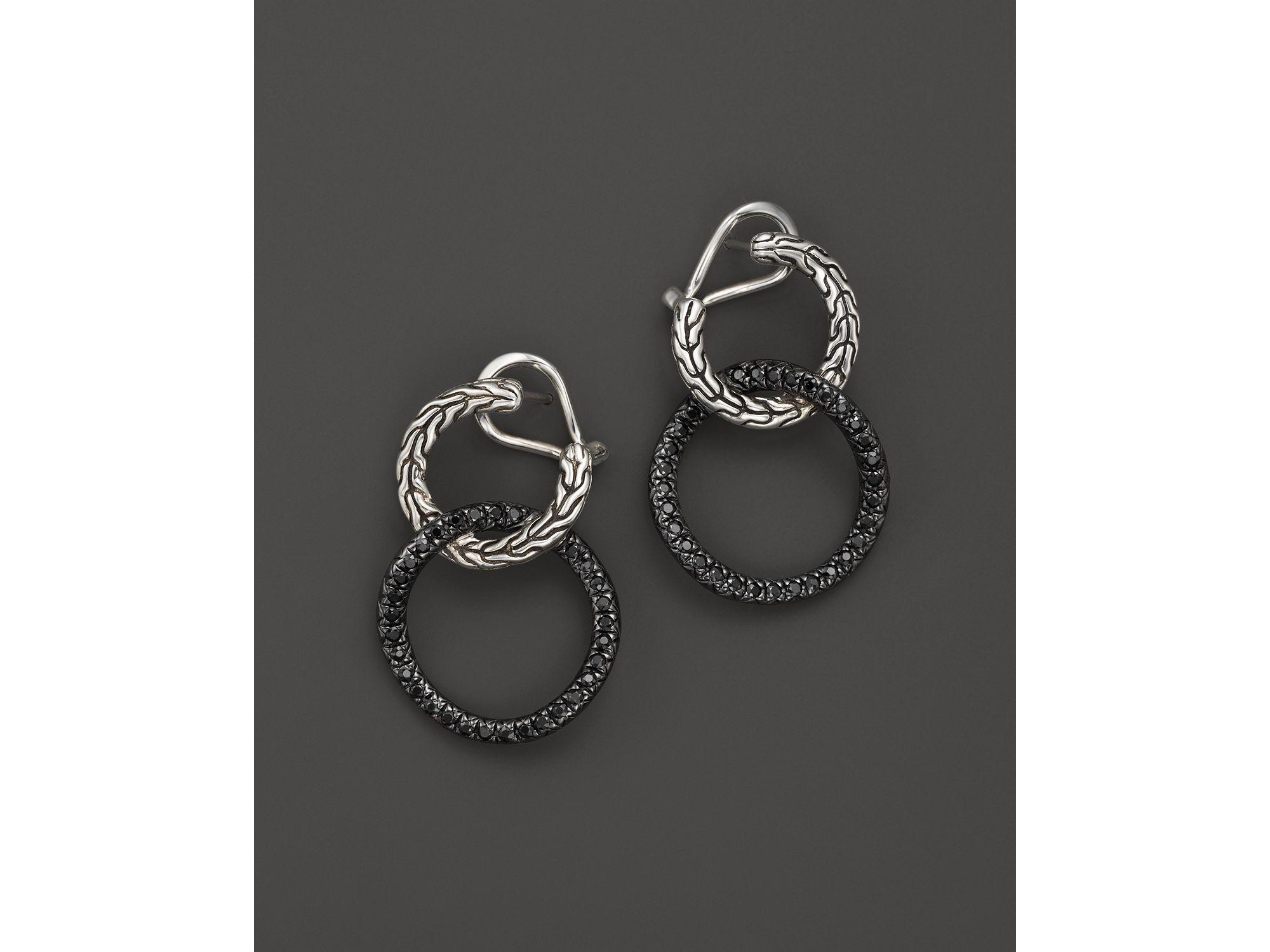 John Hardy Silver Lava Double Earrings with Black Sapphire YZYcXwAunE