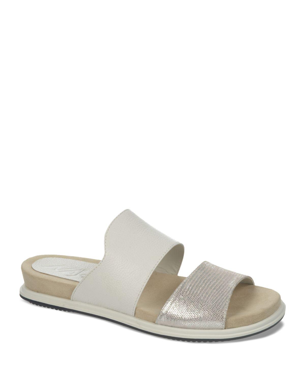 Naya Open Toe Flat Slide Sandals - Korthay in White | Lyst