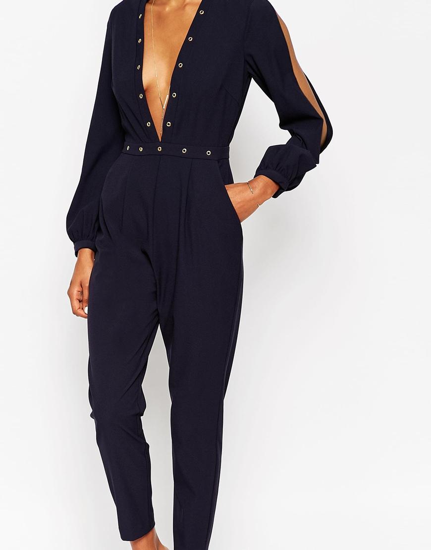 lyst asos plunge jumpsuit with stud detail in blue. Black Bedroom Furniture Sets. Home Design Ideas