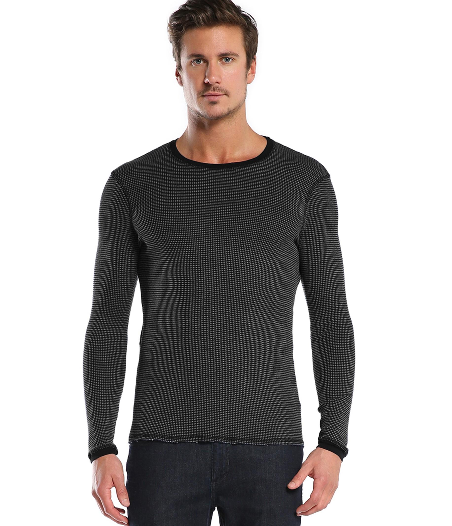 Michael stars long sleeve waffle tee in black lyst for Michael stars tee shirts