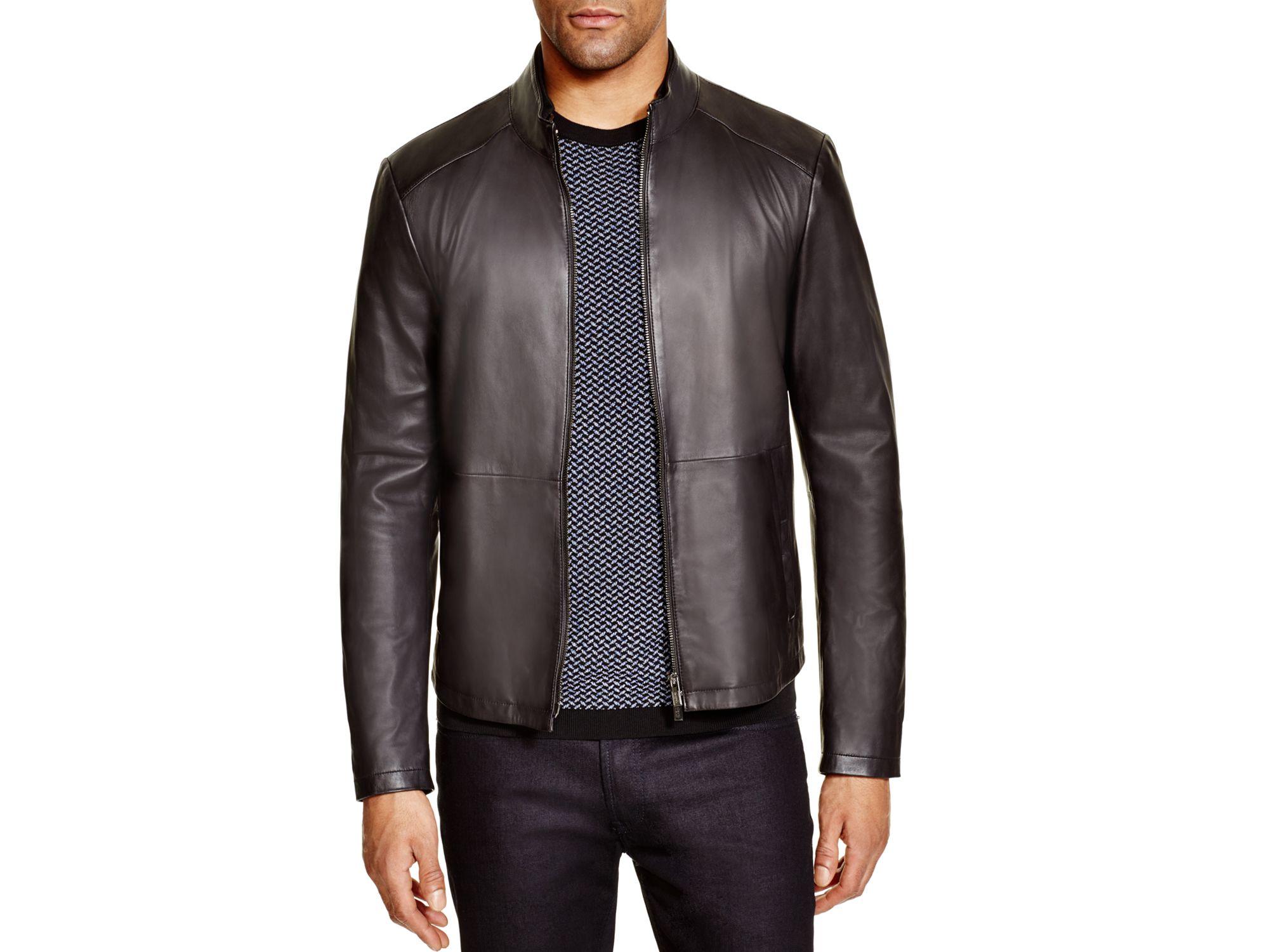 2763fac22 Armani Brown Slim Fit Lamb Leather Jacket for men
