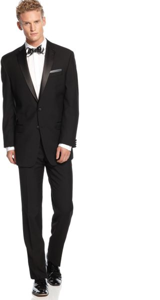 Calvin Klein Black Solid Tuxedo Big And Tall In Black For