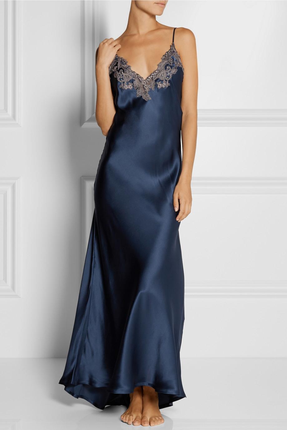 La Perla Maison Lace-Trimmed Silk-Blend Satin Nightdress