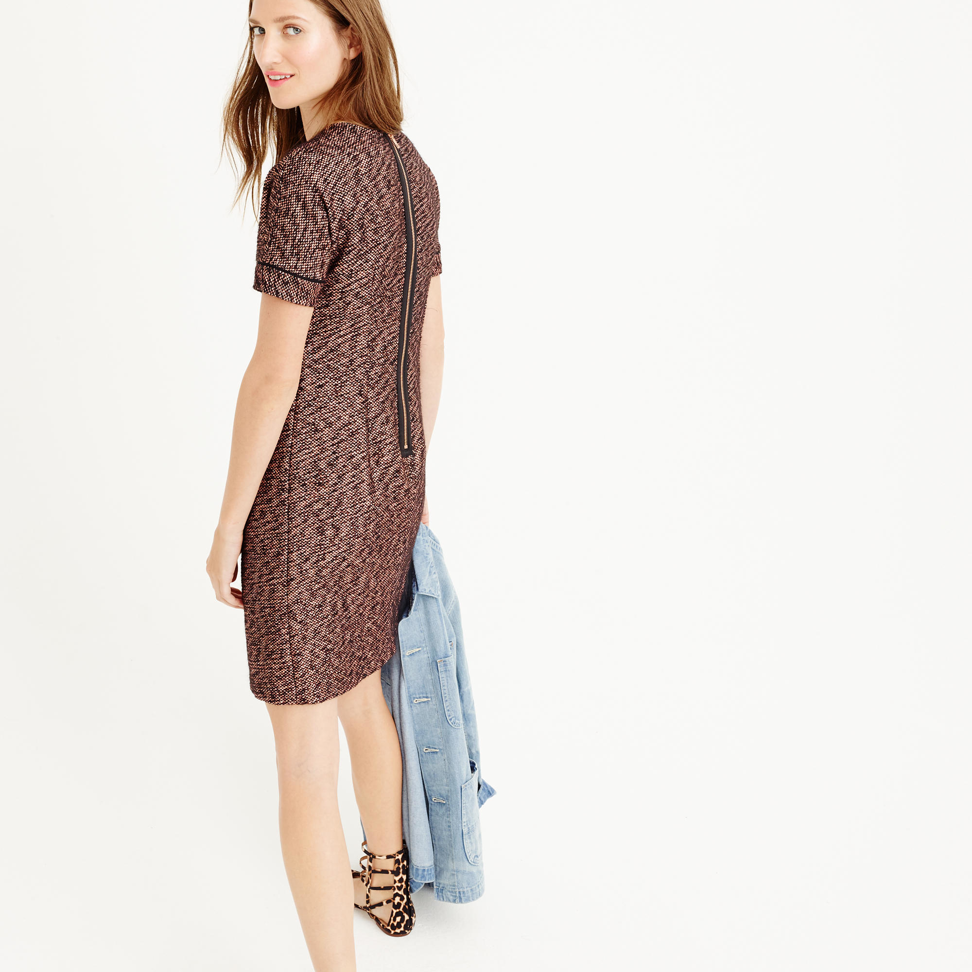 7c0cd4cd5ba J.Crew Collection Short-sleeve Rose-gold Tweed Dress in Brown - Lyst