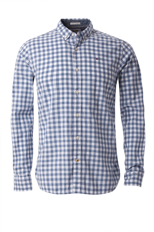 Tommy hilfiger basic gingham shirt in blue for men lyst for Tommy hilfiger gingham dress shirt
